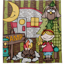 Blond Hair Girl Outdoors Camping Vacation Shower Curtain