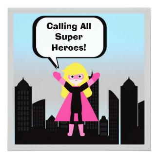 Blond Hair Girl Super Hero Birthday Invitation