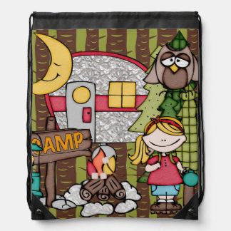 Blond Hair Girl's Camping Adventure Drawstring Bag