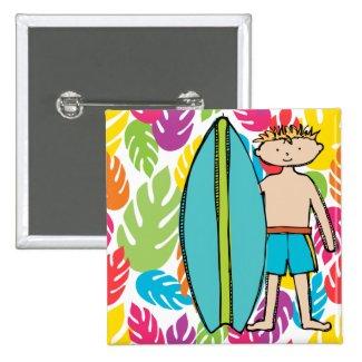 Blond Hair Surfer Boy Button