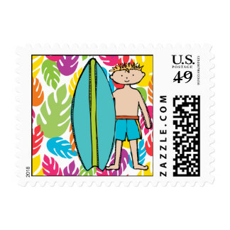 Blond Haired Surfer Boy Postage Stamps