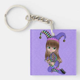 Blond Jester Girl Keychain