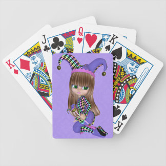 Blond Jester Girl Playing Cards