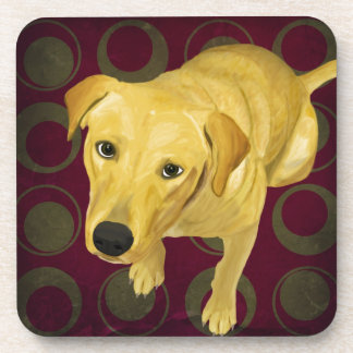 Blond Labrador Mix on burgndy and Sage Back Beverage Coaster