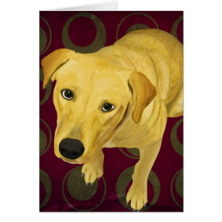 Blond Labrador Mix on burgndy and Sage Back Card