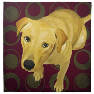 Blond Labrador Mix on burgndy and Sage Back Cloth Napkin