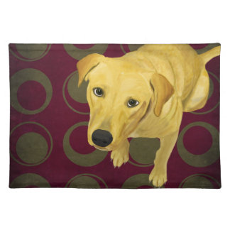 Blond Labrador Mix on burgndy and Sage Back Cloth Placemat