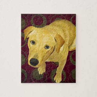 Blond Labrador Mix on burgndy and Sage Back Jigsaw Puzzle