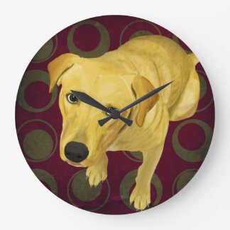 Blond Labrador Mix on burgndy and Sage Back Large Clock