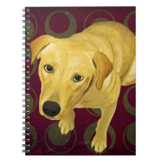 Blond Labrador Mix on burgndy and Sage Back Notebook