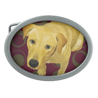 Blond Labrador Mix on burgndy and Sage Back Oval Belt Buckle