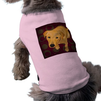 Blond Labrador Mix on burgndy and Sage Back T-Shirt