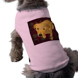 Blond Labrador Mix on burgndy and Sage Back T-Shirt