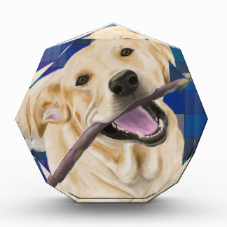 Blond Labrador Smiling with Joy, Chewing a Stick Acrylic Award
