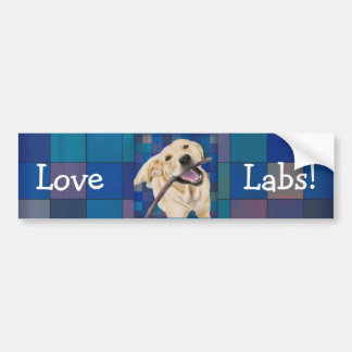 Blond Labrador Smiling with Joy, Chewing a Stick Bumper Stickers