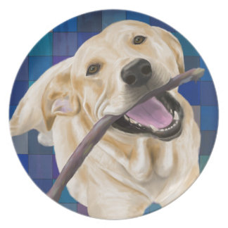 Blond Labrador Smiling with Joy, Chewing a Stick Dinner Plate