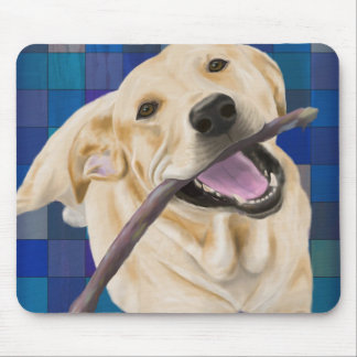 Blond Labrador Smiling with Joy, Chewing a Stick Mouse Pad