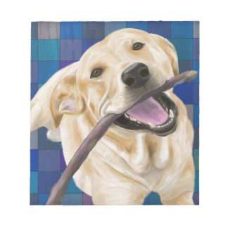 Blond Labrador Smiling with Joy, Chewing a Stick Notepad