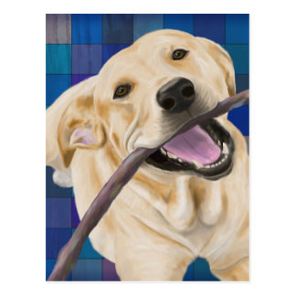 Blond Labrador Smiling with Joy, Chewing a Stick Postcard