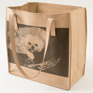 Blond Lhasa apso in a dog bed Tote