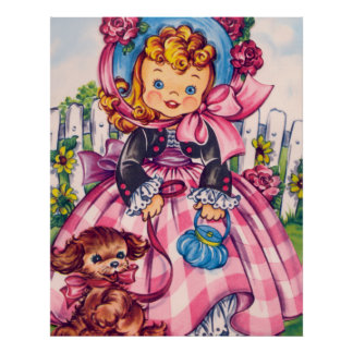 Blond Little Girl in Pink Plaid With Her Dog Poster