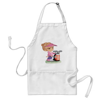 Blond little girl playing golf adult apron