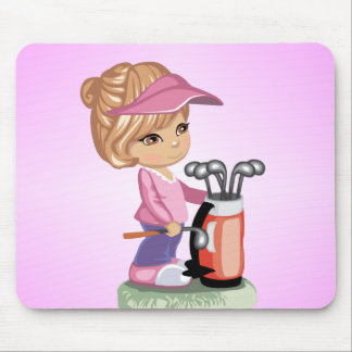 Blond little girl playing golf mouse pad