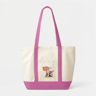 Blond little girl playing golf tote bag