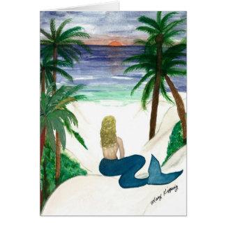 Blond Mermaid art greeting card