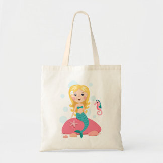 Blond mermaid cartoon girl with starfish seahorse budget tote bag