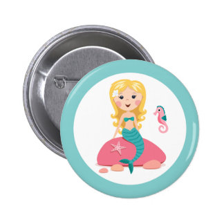 Blond mermaid cartoon girl with starfish seahorse pins