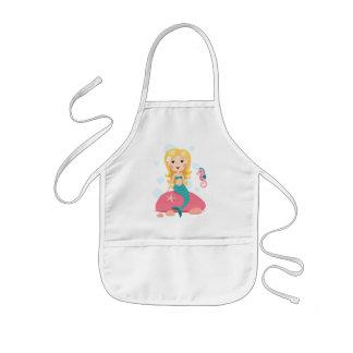 Blond mermaid cartoon girl with starfish seahorse kids' apron