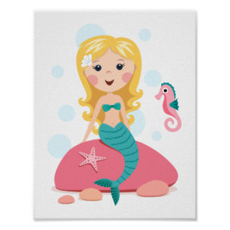 Blond mermaid cartoon girl with starfish seahorse poster