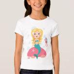 Blond mermaid cartoon girl with starfish seahorse T-Shirt