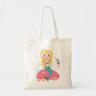 Blond mermaid cartoon girl with starfish seahorse tote bag