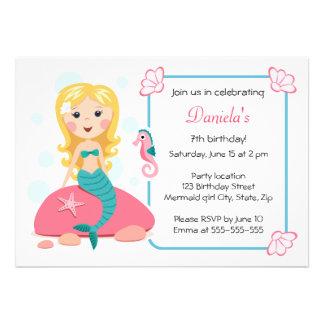 Blond mermaid girl cute girly birthday invitation