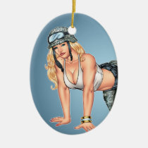 military, security, pinup girl, crawling, helmet, illustration, art, al rio, camo, boots, blond, Ornament with custom graphic design