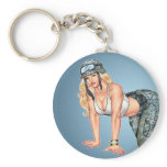 Blond Military Pinup Girl Crawling on Hands, Knees Keychain