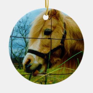 Blond Miniature Pony / Horse Blue Sky Ceramic Ornament