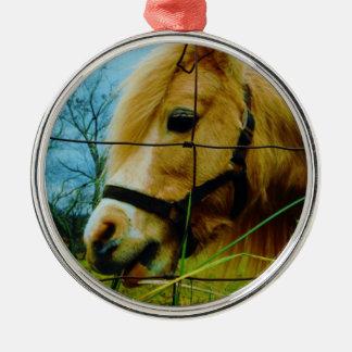 Blond Miniature Pony / Horse Blue Sky Metal Ornament