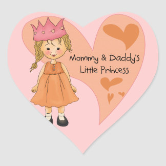 Blond Mommy and Daddy's Princess Heart Sticker