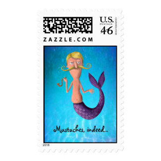 Blond Mustached Merman Postage Stamp