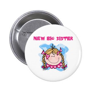 Blond New Big Sister Tshirts and Gifts Button