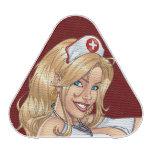Blond Nurse In Uniform Pulling Up Stockings Bluetooth Speaker