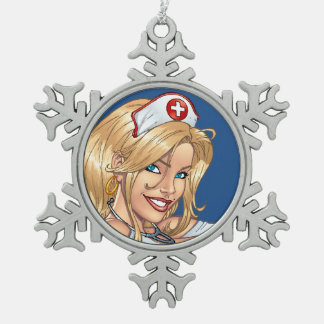 Blond Nurse In Uniform Pulling Up Stockings Snowflake Pewter Christmas Ornament