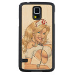 Blond Nurse In Uniform Pulling Up Stockings Carved® Maple Galaxy S5 Case