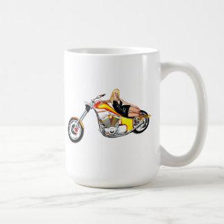 Blond on a chopper coffee mug