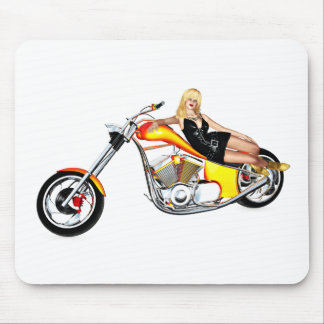 Blond on a chopper mouse pad