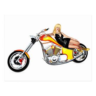 Blond on a chopper postcard