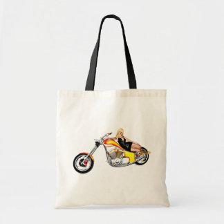 Blond on a chopper tote bag
